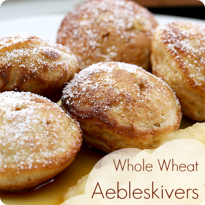 Whole Wheat Aebleskivers from Play Trains! A healthier update to an old family recipe for these Danish round pancakes.