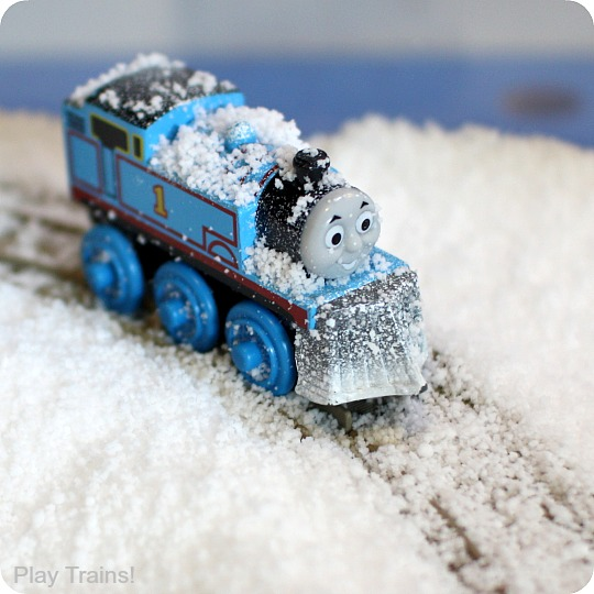 Pretend Snow Sensory Play with Trains
