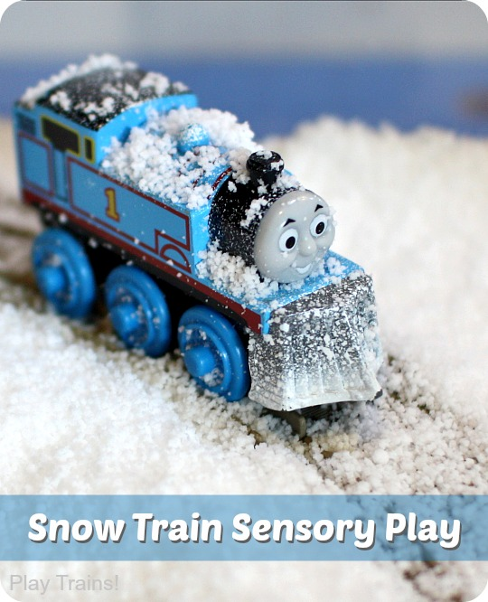 Pretend Snow Sensory Play with Trains from Play Trains!