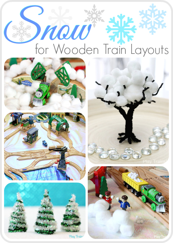 Snow for Wooden Train Layouts from Play Trains! Snowy scenery and accessories for toy train sets and small worlds.