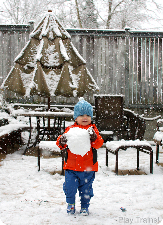 Winter Train Activities for Kids: Building a Train Engineer Snowman from Play Trains!