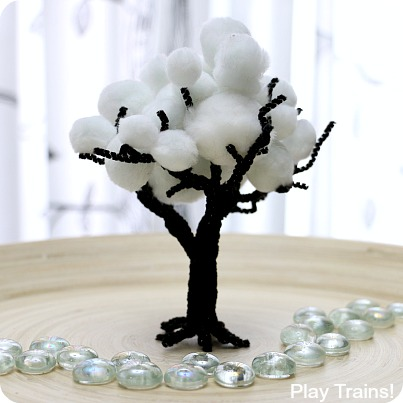 Winter Pom Pom Trees for Train Sets and Other Small Worlds from Play Trains!