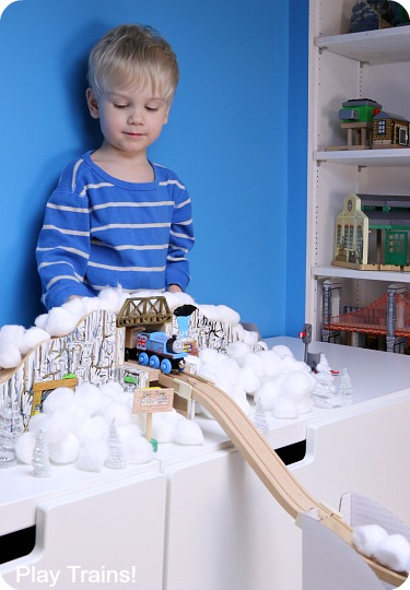 Wooden Train Ski Jump -- Winter Olympics Activities for Kids from Play Trains!
