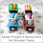 Easter Train Freight and Easy Bunny Ears for Wooden Trains