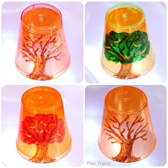 Four Seasons Tree Cups for Light Play from Play Trains!