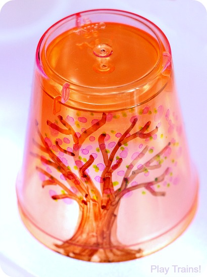 Four Seasons Tree Cups for Light Play: Spring from Play Trains!