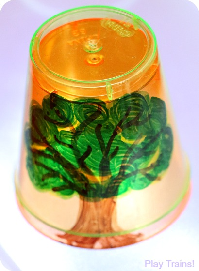 Four Seasons Tree Cups for Light Play: Summer from Play Trains!