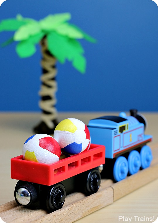 These DIY mini beach balls are so much fun for tropical wooden train layouts and summertime small worlds!