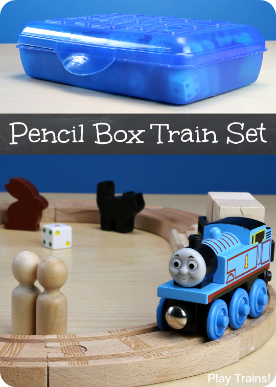 Pencil Box Wooden Train Set: a portable, travel-friendly way to bring wooden trains on adventures from Play Trains!