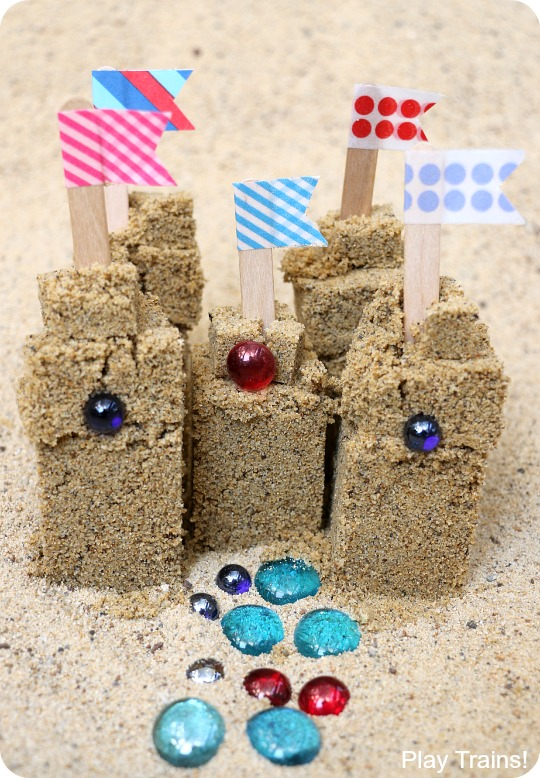 Travel-Friendly Mini Sand Castle Kit -- perfect for travel with kids, as a bon voyage gift, or as a beach birthday party or wedding favor!