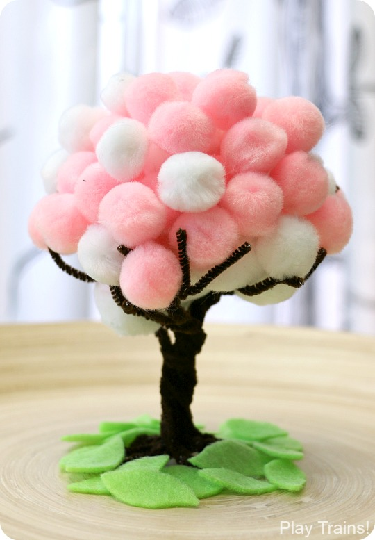Cherry Blossom Spring Pom Pom Trees: fine motor activity and craft from Play Trains!