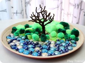 Summer Pom Pom Tree Craft and Fine Motor Activity from Play Trains!