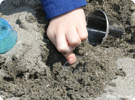 Customize this travel-friendly mini sand play set to match your child's interests!