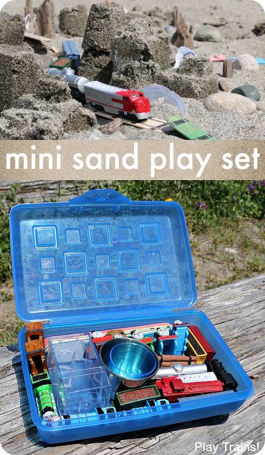 Customize this travel-friendly mini sand play kit to match your child's interests!