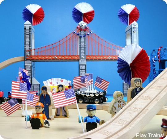 Fourth of July Wooden Train Play from Play Trains!