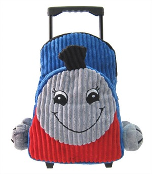 Back to School: Train Backpacks, Lunch Boxes, and More: Kids' Blue Rolling Backpack With Train Stuffie