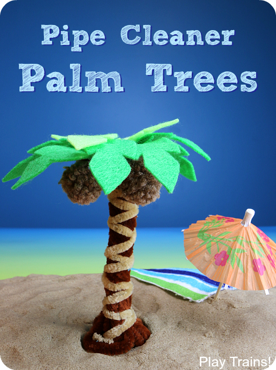 DIY pipe cleaner palm trees -- can be an interactive summer small world element or simply a cute craft!