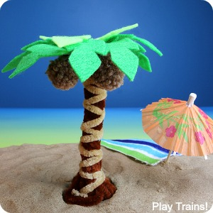 DIY pipe cleaner palm trees -- can be a fine motor activity for kids, an interactive summer small world element, or simply a cute craft!
