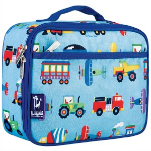 Back to School: Train Backpacks, Lunch Boxes, and More -- Wildkin Olive Kids Trains, Planes, and Trucks Lunch Box