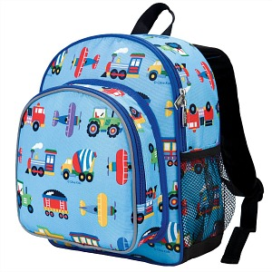 Back to School: Train Backpacks, Lunch Boxes, and More -- Wildkin Olive Kids Trains, Planes and Trucks Pack 'n Snack Backpack