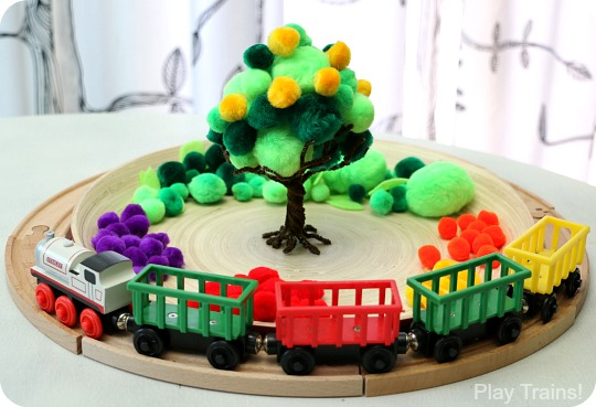 Apple Harvest Pom Pom Tree Fine Motor Activity from Play Trains!