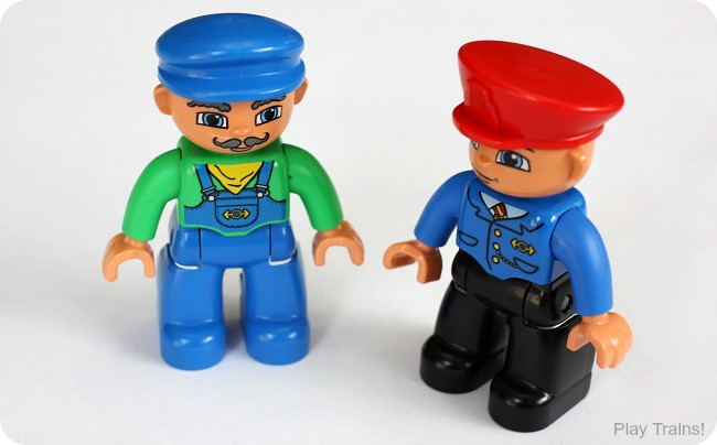 LEGO DUPLO train engineer and conductor figures: recommended in Train Advent Calendar Gifts on Play Trains!