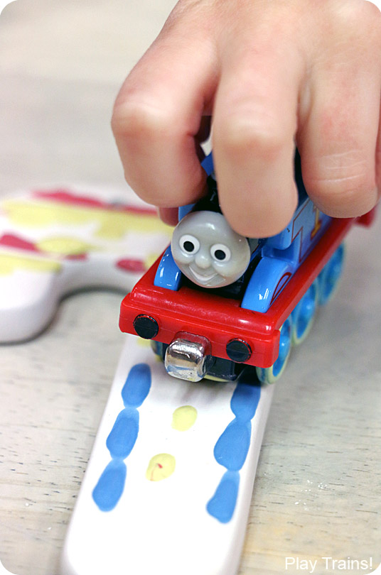 Painting with Trains: Thomas the Tank Engine Candy Cane Ornament