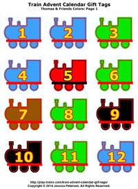 Train Advent Calendar Gift Tags: a collection of free printables from Play Trains!