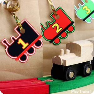 Train Advent Calendar Gift Tags: free printable train-themed, number gift tags in two different color schemes: Festive Train Colors and Thomas & Friends Engine Colors