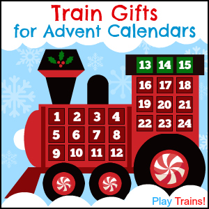Train Advent Calendar Gifts: tiny toy trains and small train gifts to fill your little engineer's advent calendar.