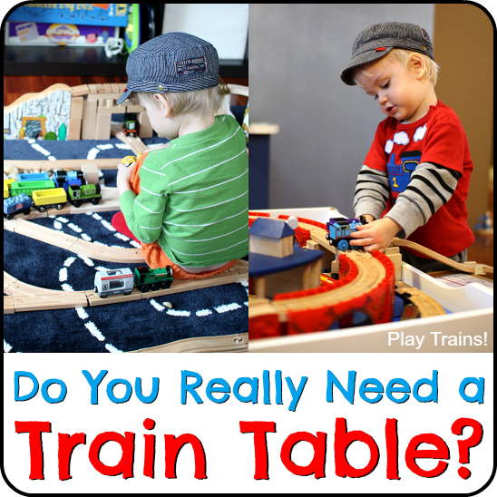 Do you really need a train table? Honest advice and the pros and cons of train tables from a wooden train expert and mom. http://play-trains.com/