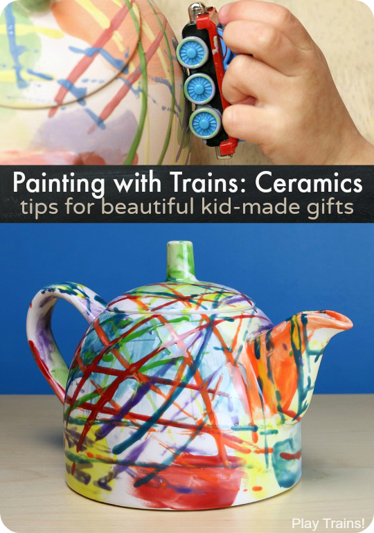 Painting with Trains on Ceramics: tips for beautiful kid-made gifts from Play Trains!