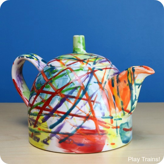 Beautiful Kid-made Gifts: Painting with Trains on Ceramics