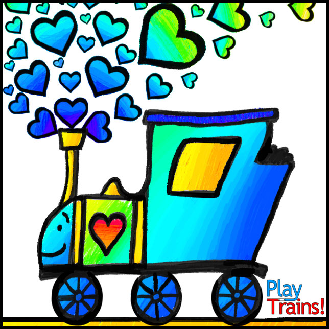 Free Printable Train Valentines -- in full color or color-your-own black and white -- from Play Trains!