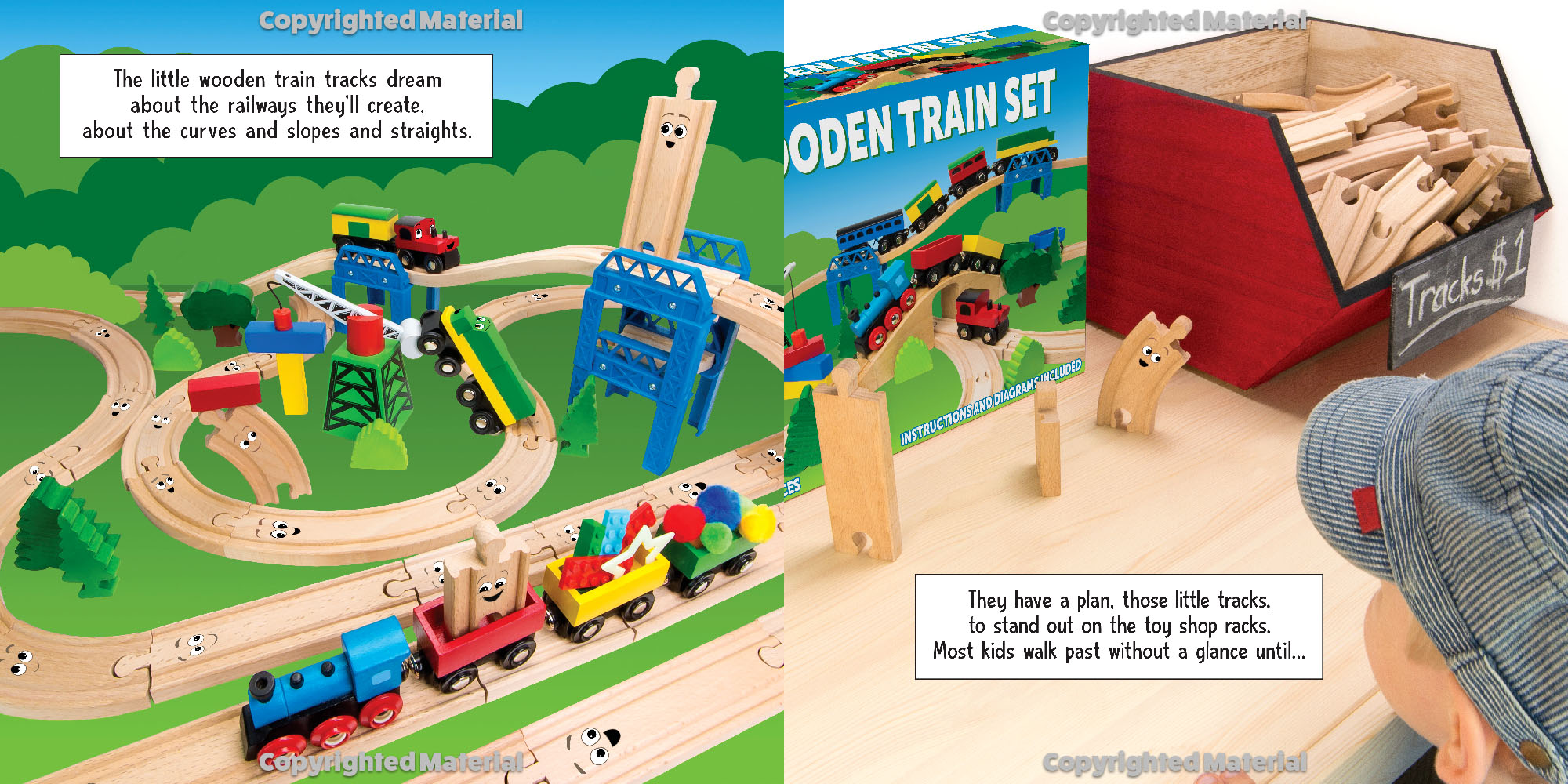 OLD TRACKS, NEW TRICKS by Jessica Petersen: a wooden train picture book that encourages creative play