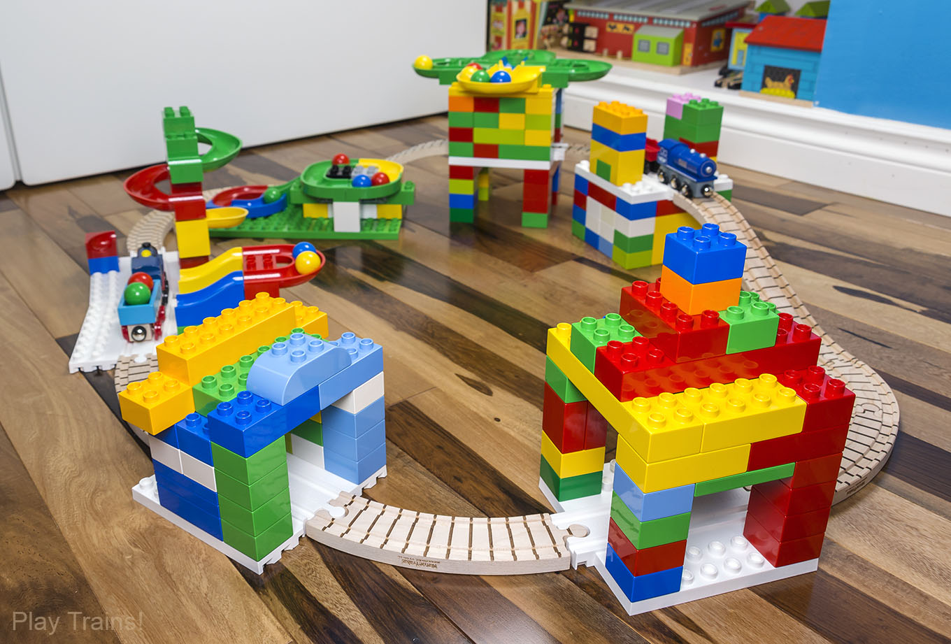 Dreamup Toys Wooden Train Set with DUPLO-compatible Block Platforms