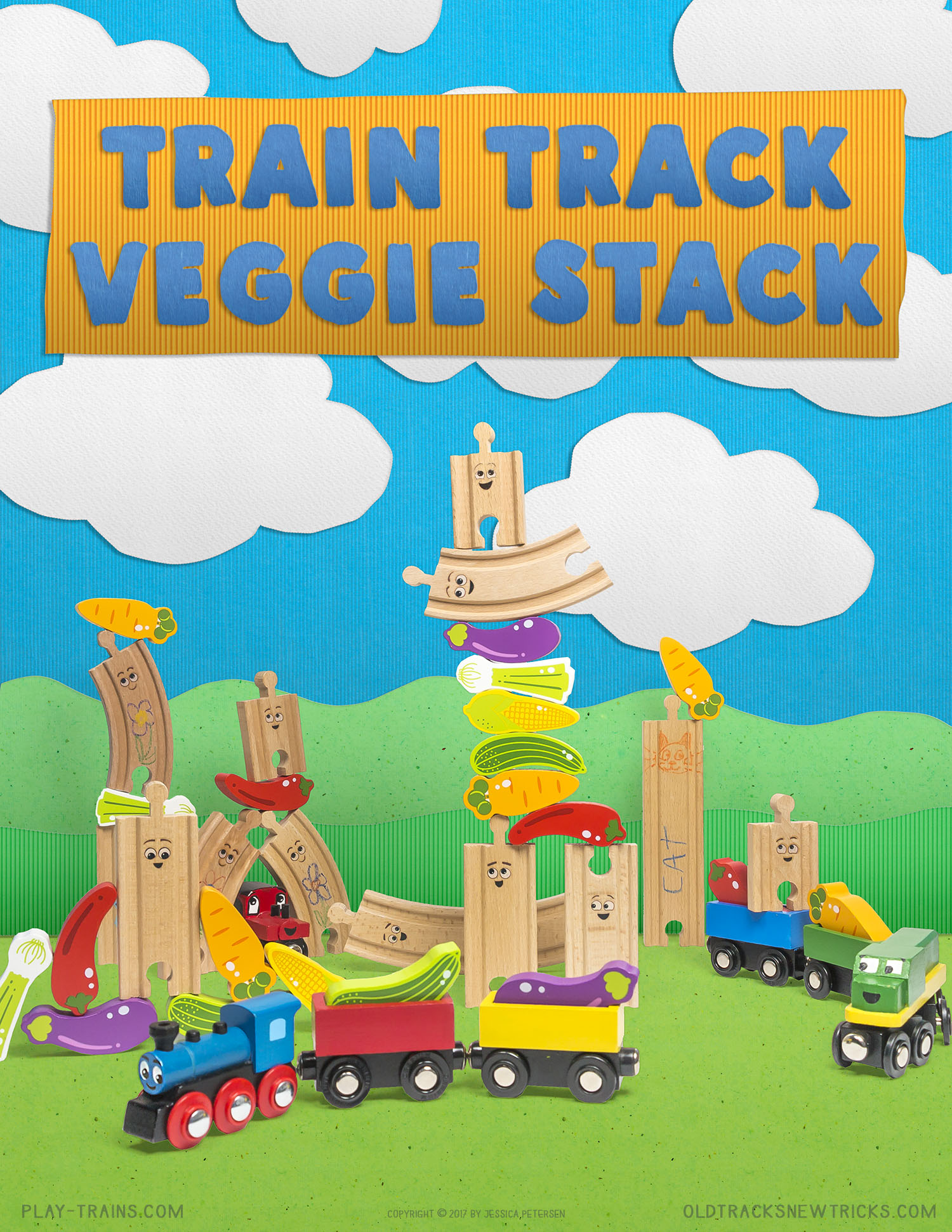 Wooden Train Track Stacking with Vegetables -- a fun way to get little engineers interested in veggies!