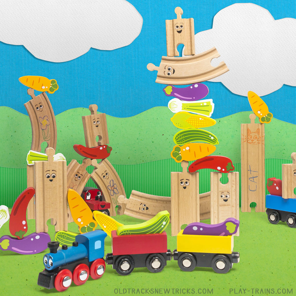 Wooden Track Veggie Stack: a Wooden Train Activity