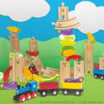 Wooden Train Track Vegetable Stacking Activity